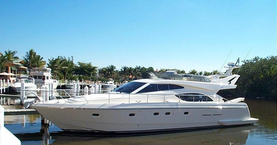 This fine 53 Ferretti is powered C12 Caterpillars with very low hours